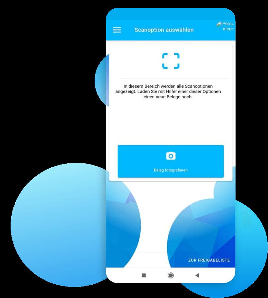 """Belegscan in der App via Kamera oder der """"Öffnen Mit"""" Funktion"""